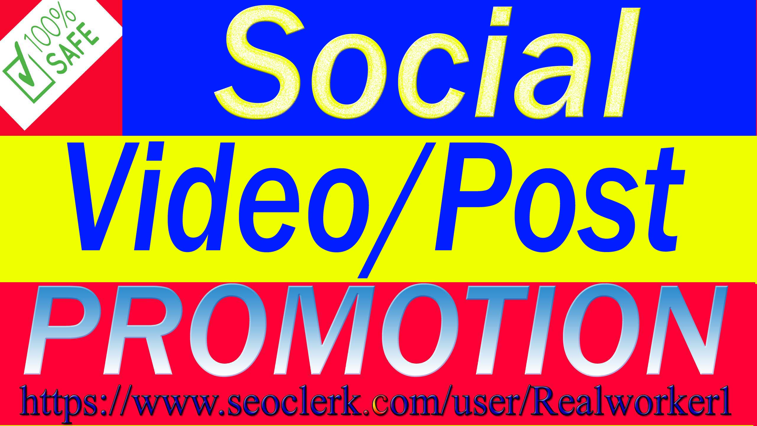 I Will Do Active Social Post & Video Promotion Via Real User