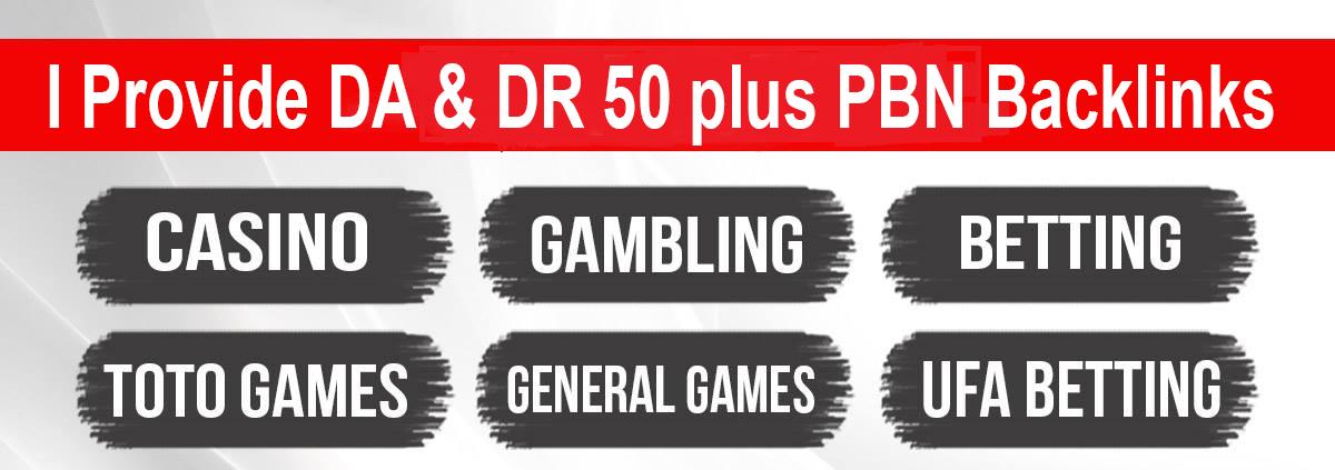 i will Provide 25 Casino Poker UFABET & Judi PBN Backlinks DA & DR 50 plus