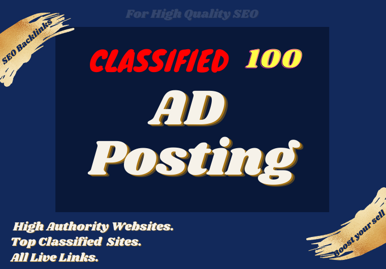 Manually Post your ad 50 high authority ad posting sites.