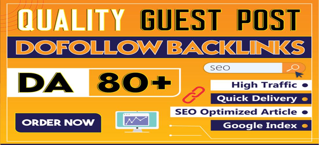 SEO guest post High DA 50 to 90 backlinks service