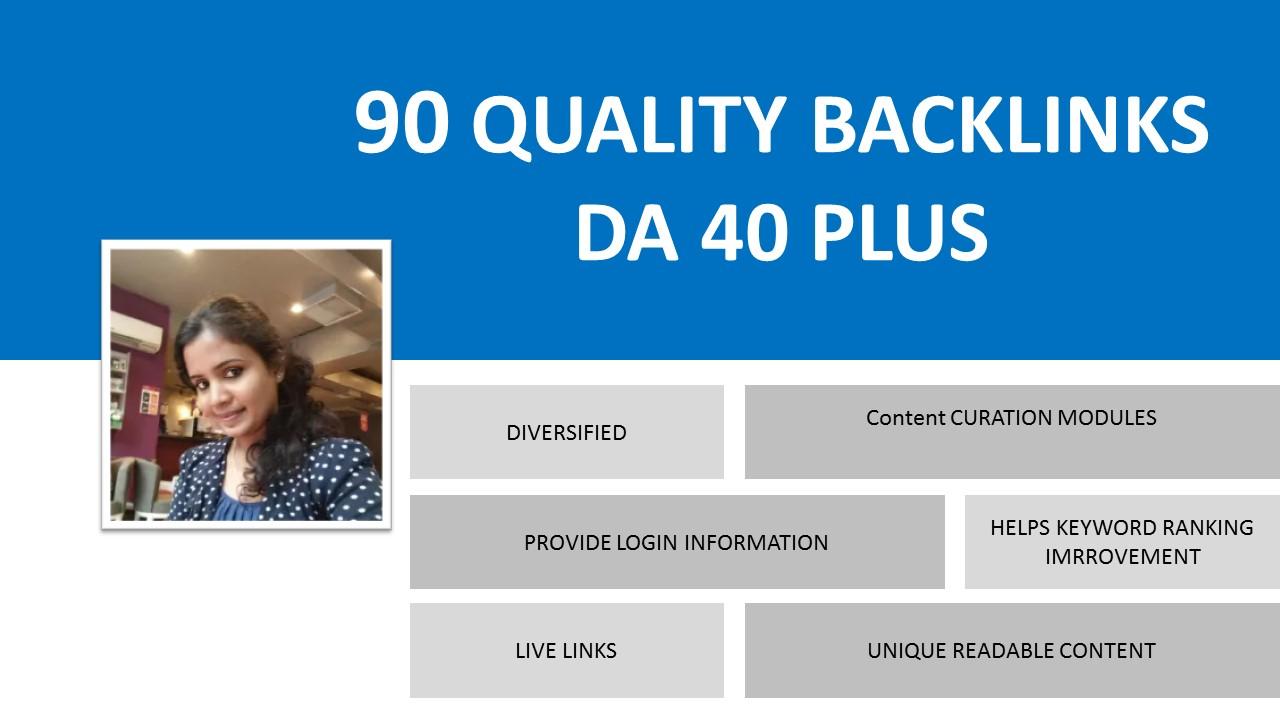Build 90 Quality Backlinks DA 40 Plus