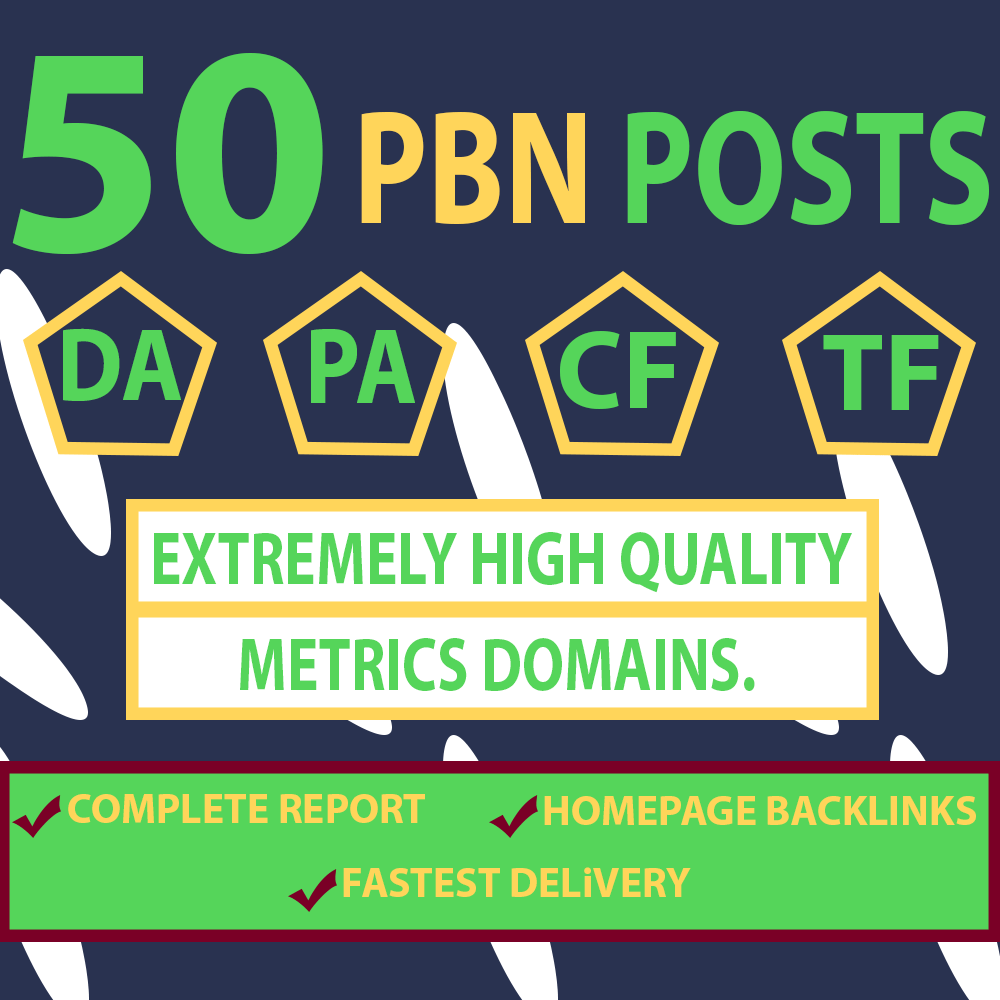 50 Homepage PBN Links DA 50+ HIGH TF Dofollow Manually