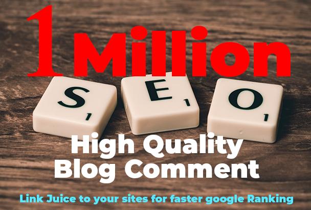 Provide 1 million dofollow SEO blog comment
