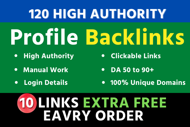 I Will Manually Do 120 Profile Backlinks From Unique HQ Sites
