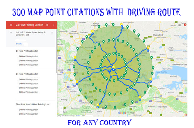 I will do 300 google map point citations with add GEO tag image every point