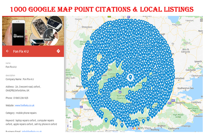 I will manually do 1000 Google map point citations with 10 local listings for any country