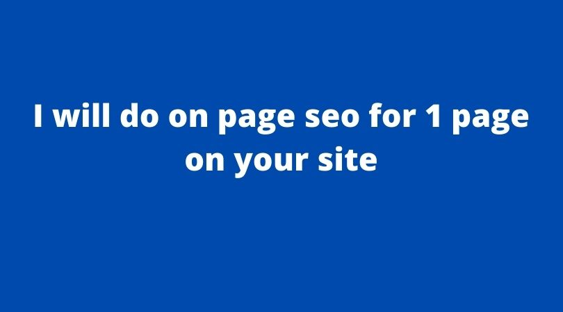 I will do on page seo for 1 page on your site