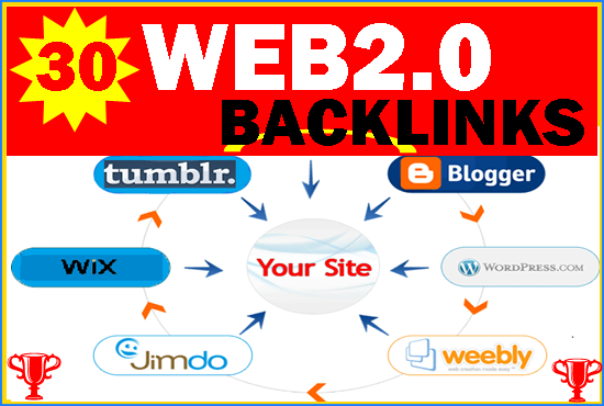 Build 30 High Quality Web2.0 Blogs high DA 30+