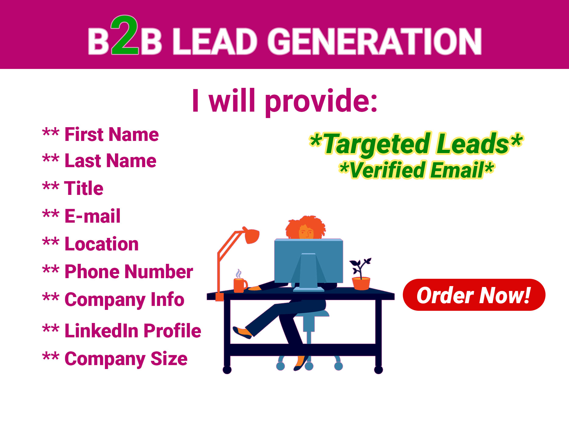 I will do 100 B2B lead generation for you and targeted niche