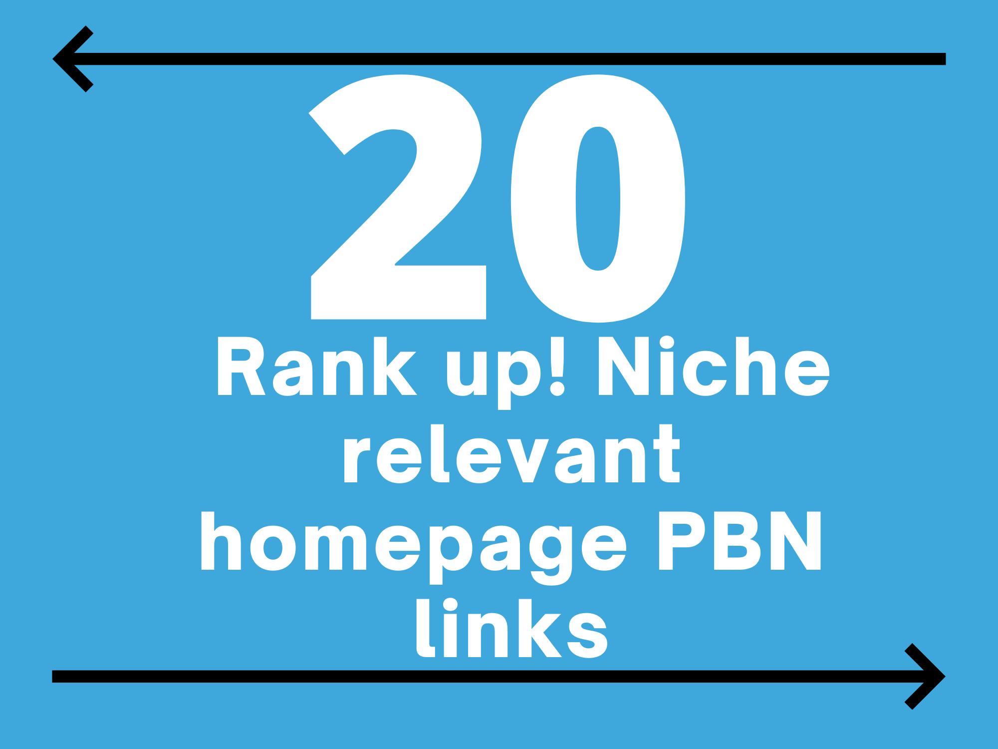 Rank up 20 Homepage PBN Links - DA 20+ PR 1-9+ TF 20+ Fast PBN Backlinks
