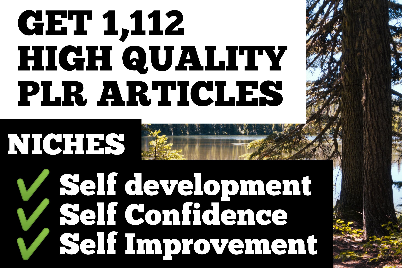 I will send you over 1000 PLR Articles on self development, self confidence, self improvement niches
