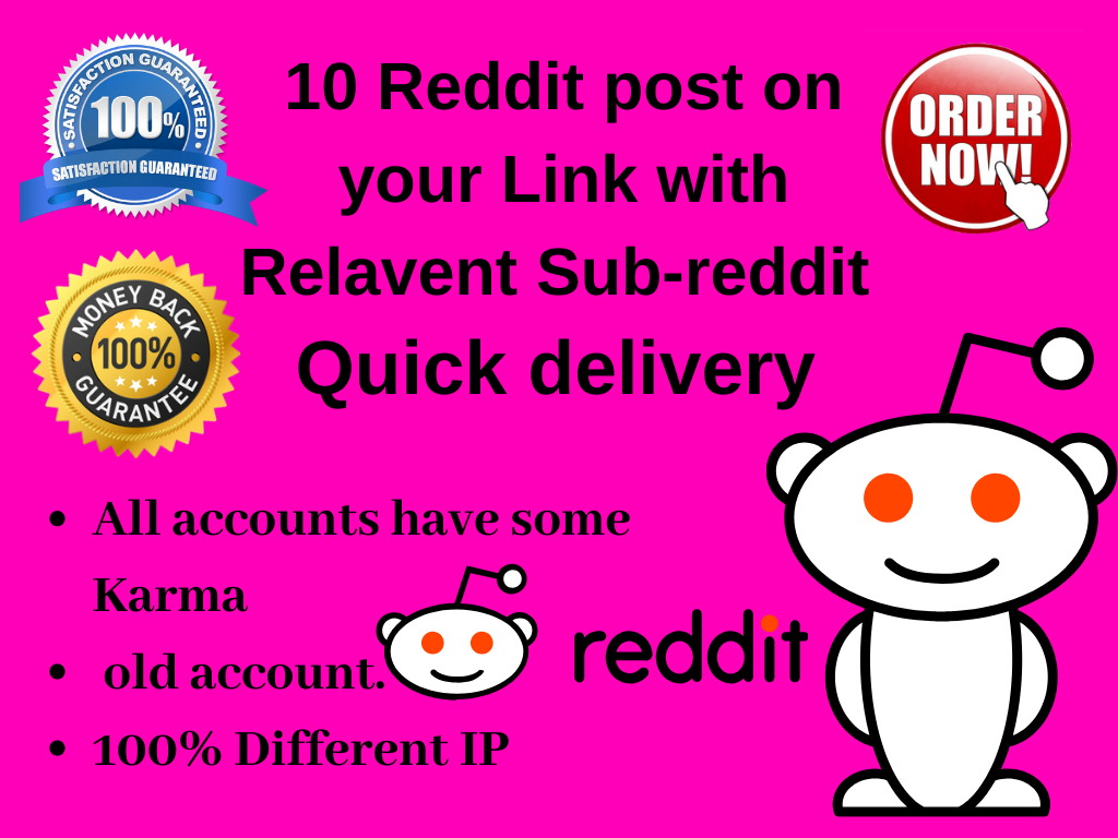 Give 10 Reddit post on your link with different sub-reddit