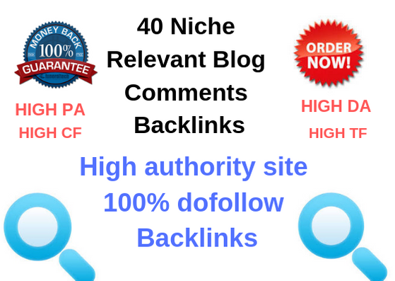 Create 40 Niche Relevent high authority Blog comments backlinks