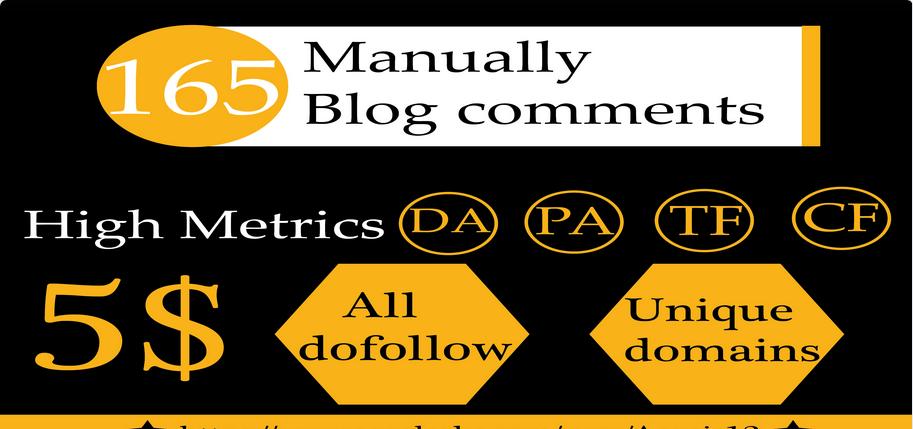 Do 165 HQ Blog Comment Dofollow Backlinks