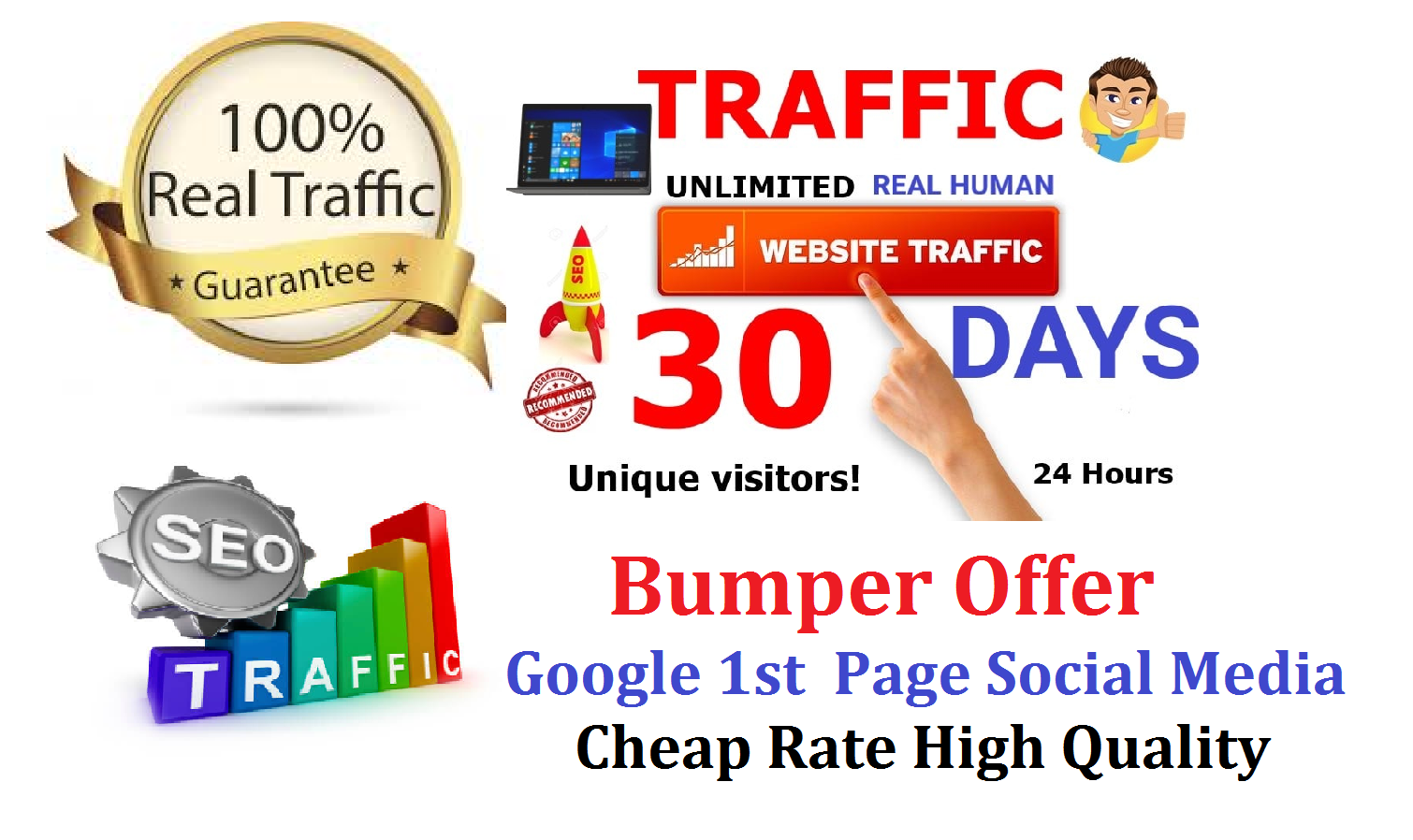 Bumper Offer 10,000 Monthly Traffic Real USA Active Social Media SEO Google 1st Page Rank 30 Days