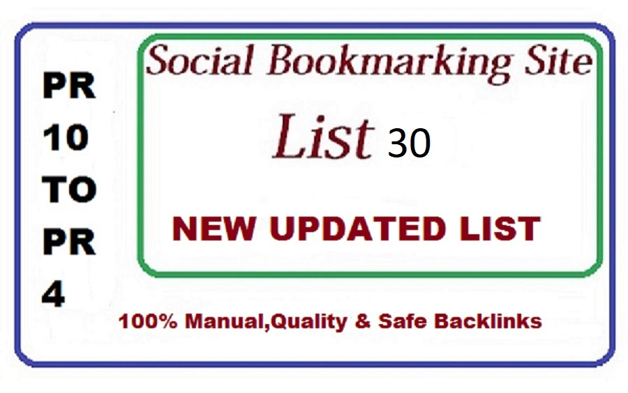 Get promote 30 social bookmarking backlinks