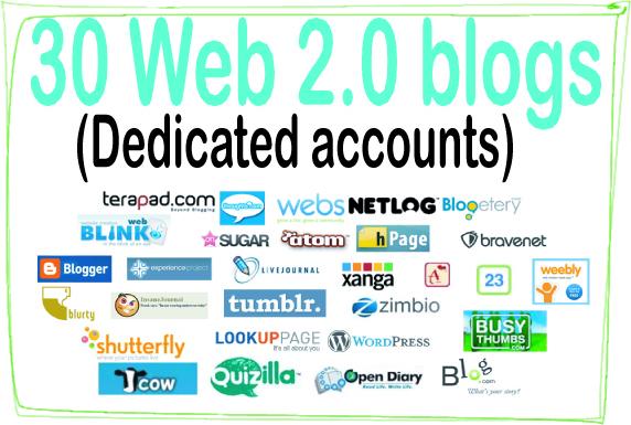 Do 30 Web 2.0 Blogs High-Quality PREMIUM Backlinks To Improvement Your Rank