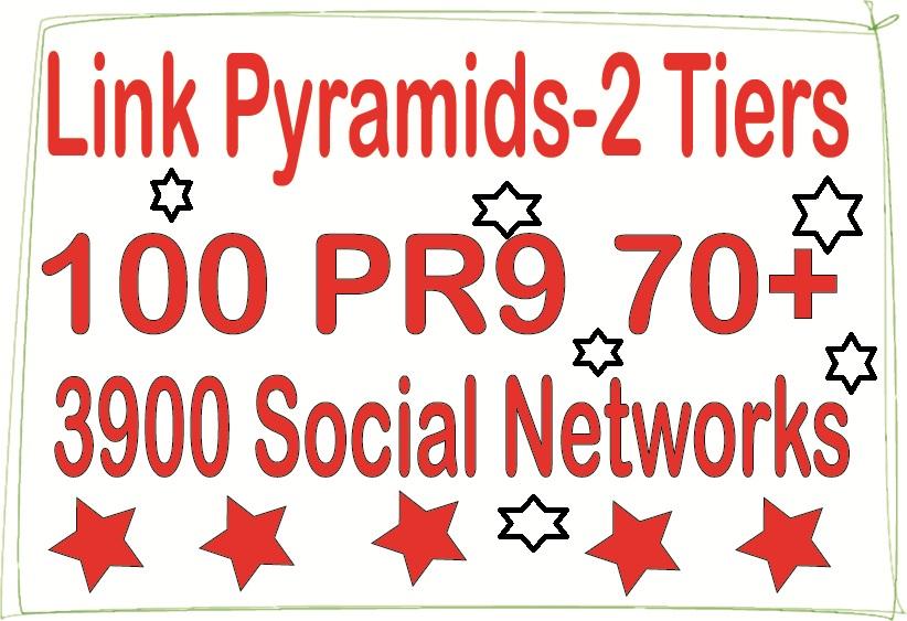 Powerful Multi-Tier Pyramids - 3900 Social networks & 100 PR9 - DA 70+ Backlinks For SEO
