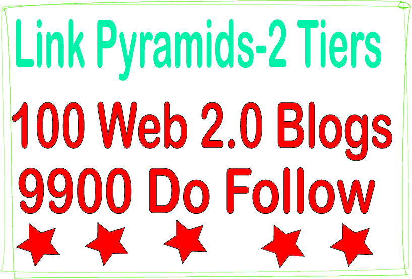Boost SEO Pyramids - 9900 Do-follow & 100 Web 2.0 blogs Tiered Backlinks For SEO