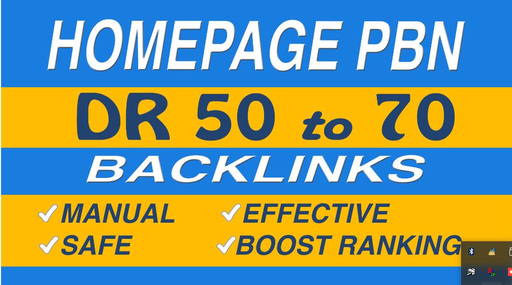 Make DR 50 to 70 homepage pbn backlinks