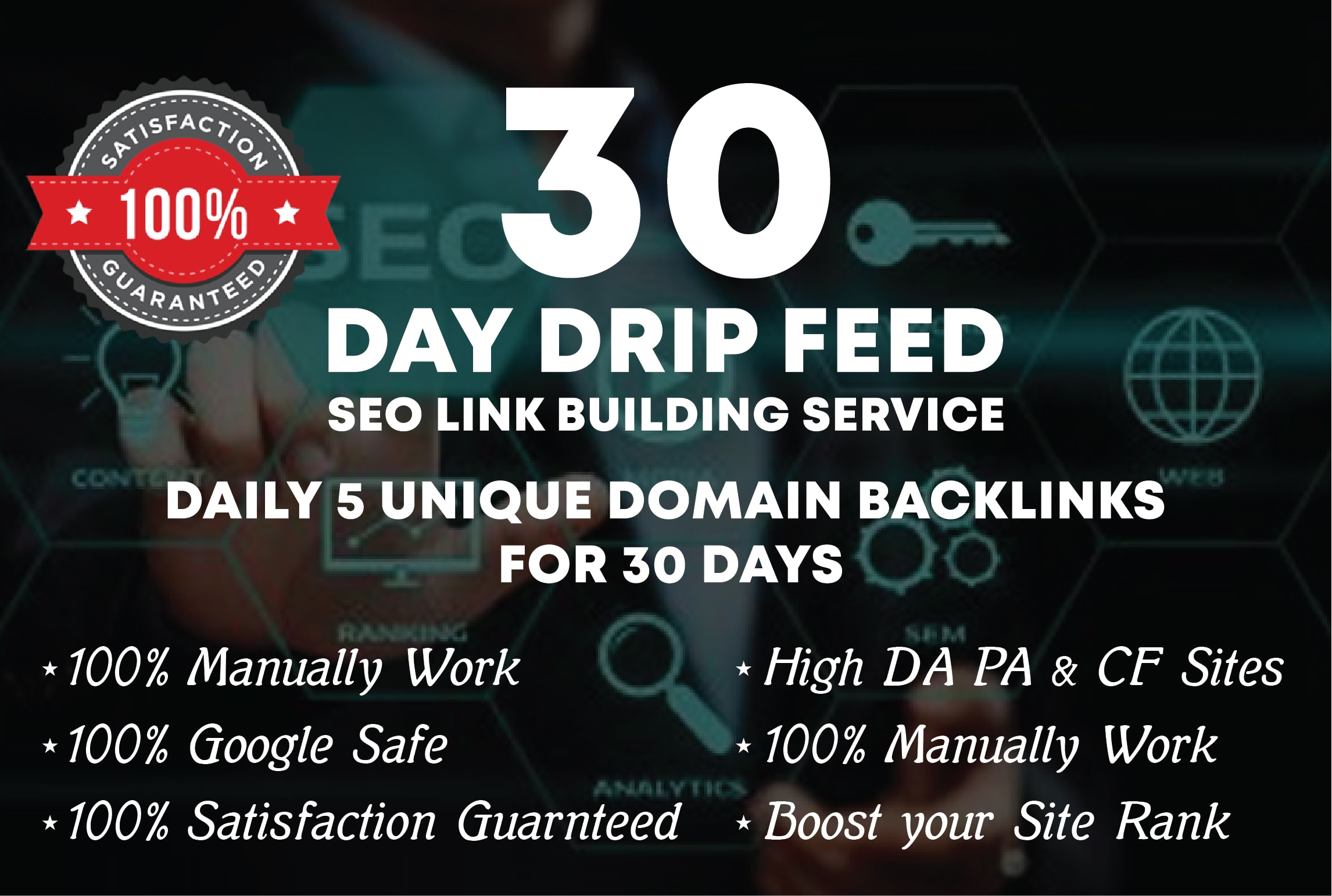 Add creat One monthly full SEO drip feed service,  backlinks for google top ranking