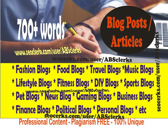 700+ Words ARTICLES or BLOG POSTs - SEOptimized / Unique contents WRITING