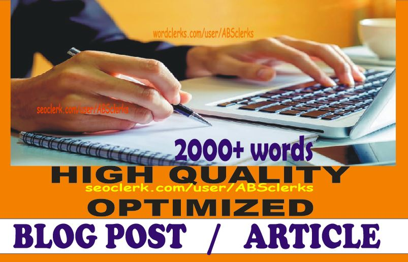Write 2000+ Words Quality ARTICLE writing,  BLOGs writing or WEBSITE content writing on any subject