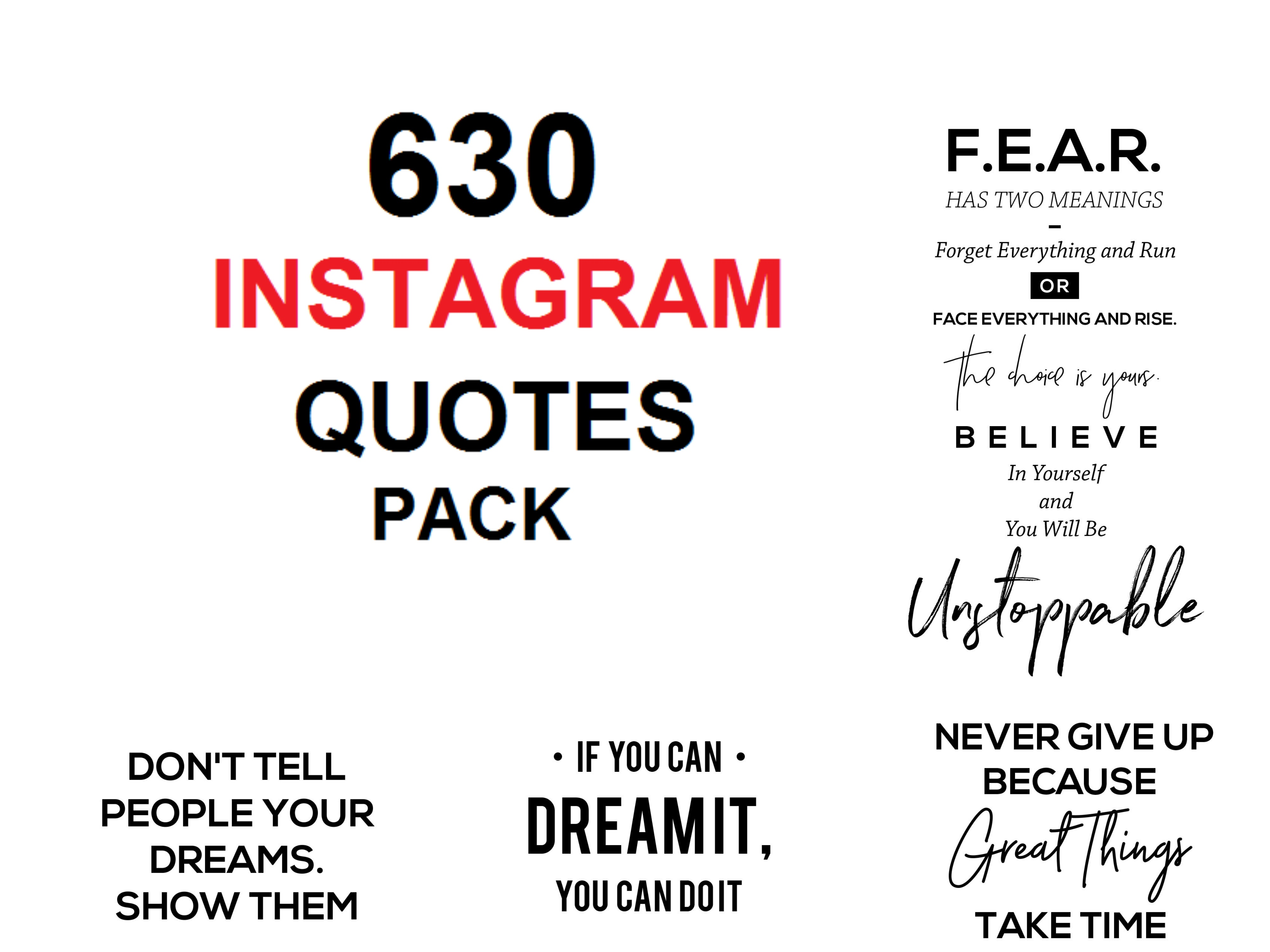 I will provide you with 630 engaging social quotes ready for instagram marketing