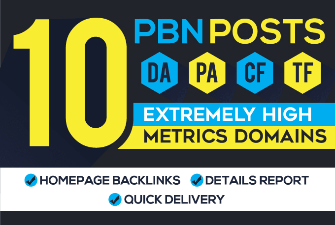 I will manually build 10 high pa da tf cf homepage pbn backlinks