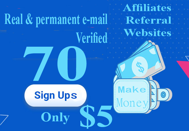 Unique sign ups service with email verified for any websites referral or affiliates program