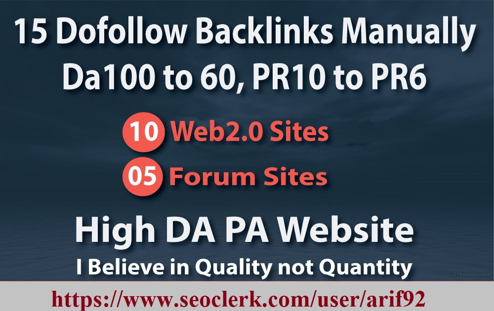 High Authority 15 Manually Backlinks Dofollow Da100 to 60, PR10 to PR6