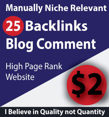 Niche Relevant Backlinks 25 Blog Comments High DA PA Sites 100% Manually