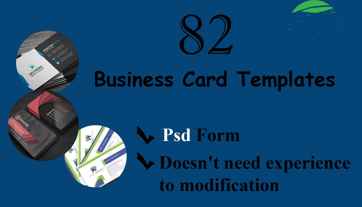 82 Business Card templates PSD form