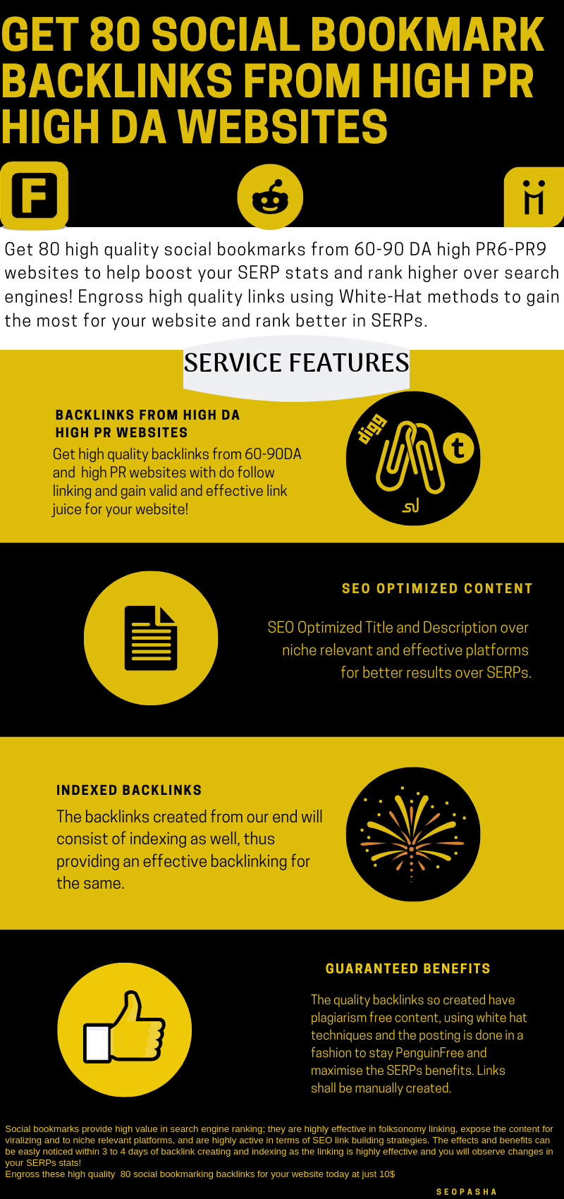 Get 80 high quality social bookmarking backlinks from high DA websites