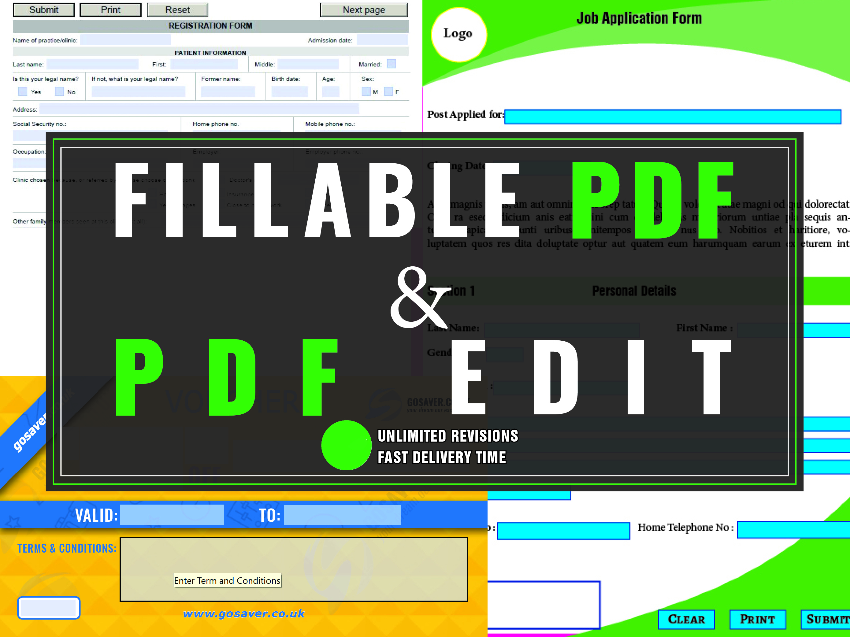 Design Fillable PDF Forms up to 5 pages/more or PDF edit