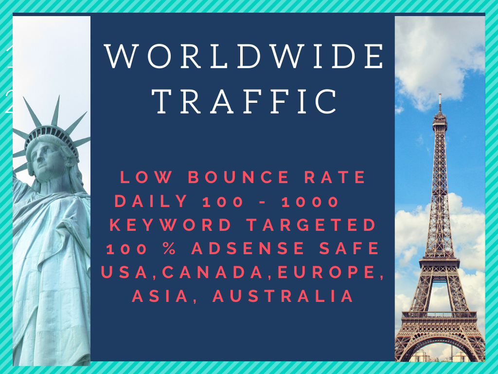 I will bring real human traffic daily 300+for 30 days from usa, canada, uk, europe, asia, australia