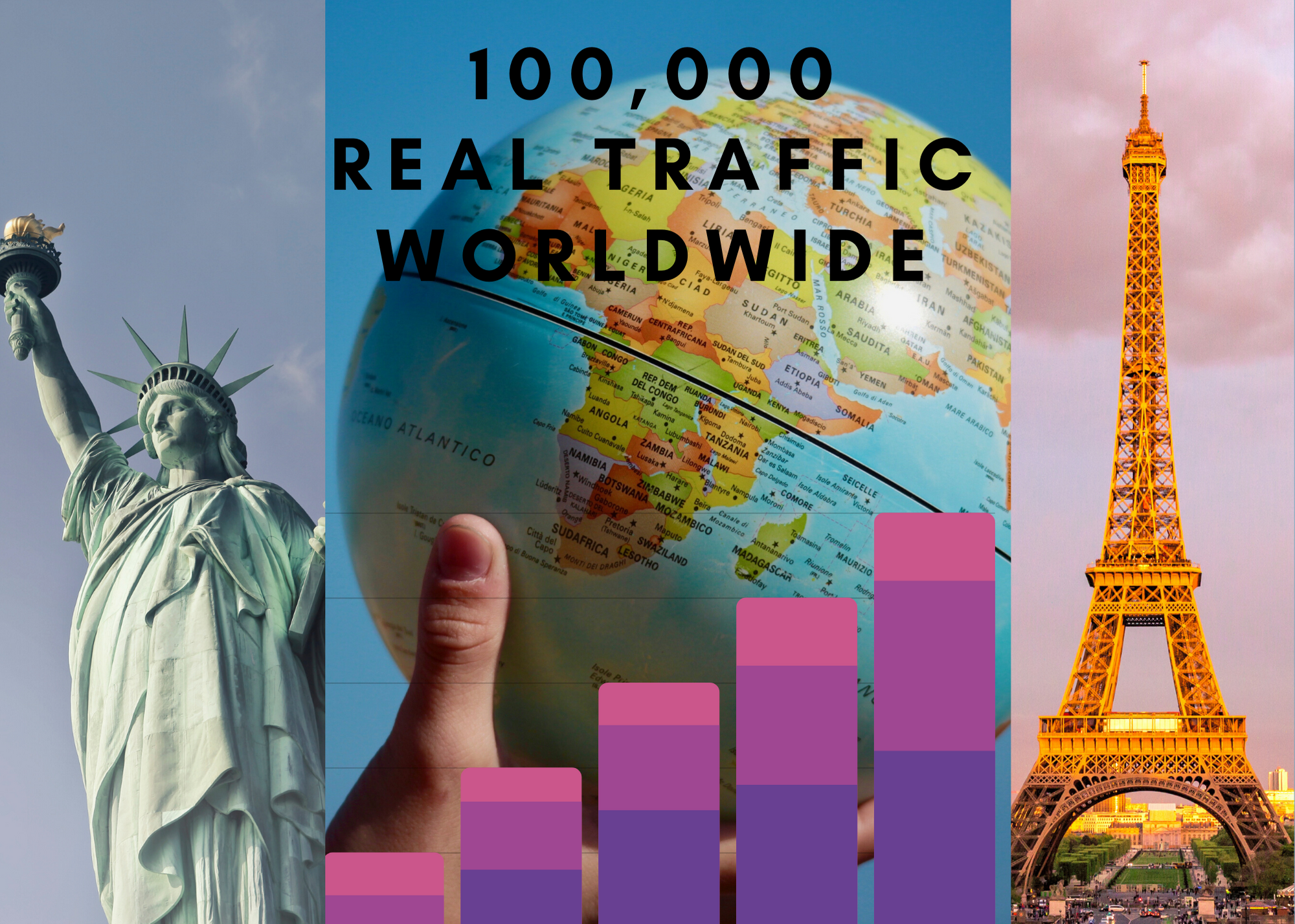 I will send 100000 real human traffic from all over the world