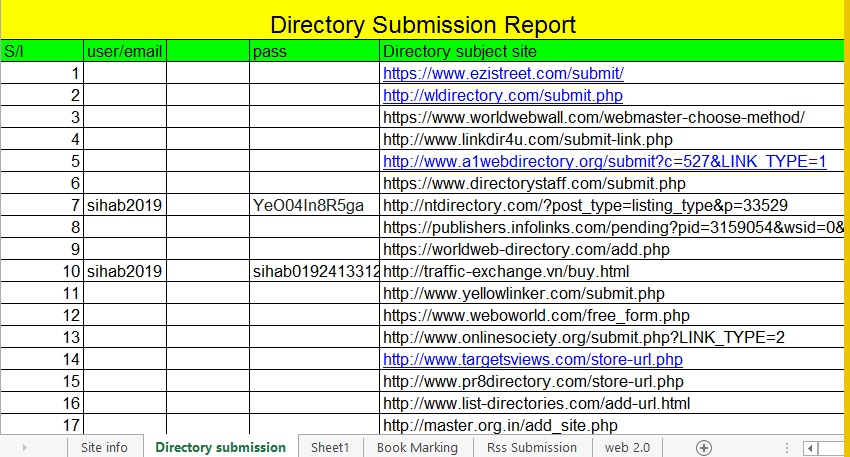 Directory Submission For SEO