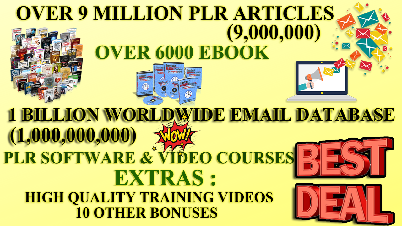 I Will Give You 9 Million Plr Articles 6000 Ebooks,  1 Billion Email Database