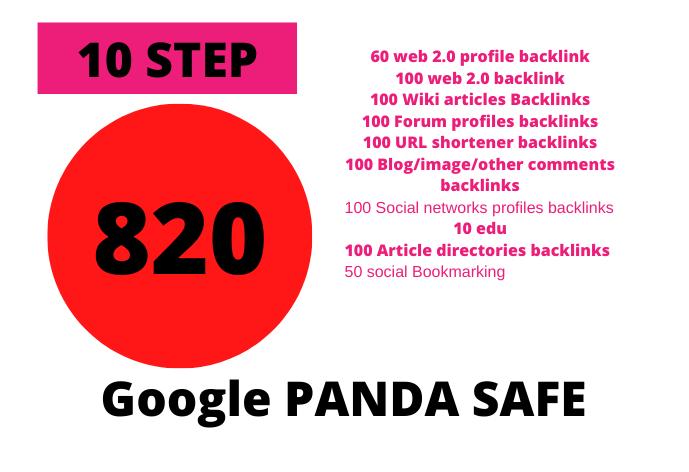 10 Step 820 SEO Backlinks PR9,  EDU,  Forum,  wiki, Social Media Links for Boost GOOGLE Ranking