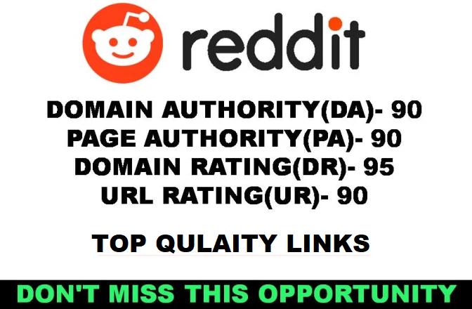 1 HIGHPOWER DA97 High Quality Backlinks From Reddit