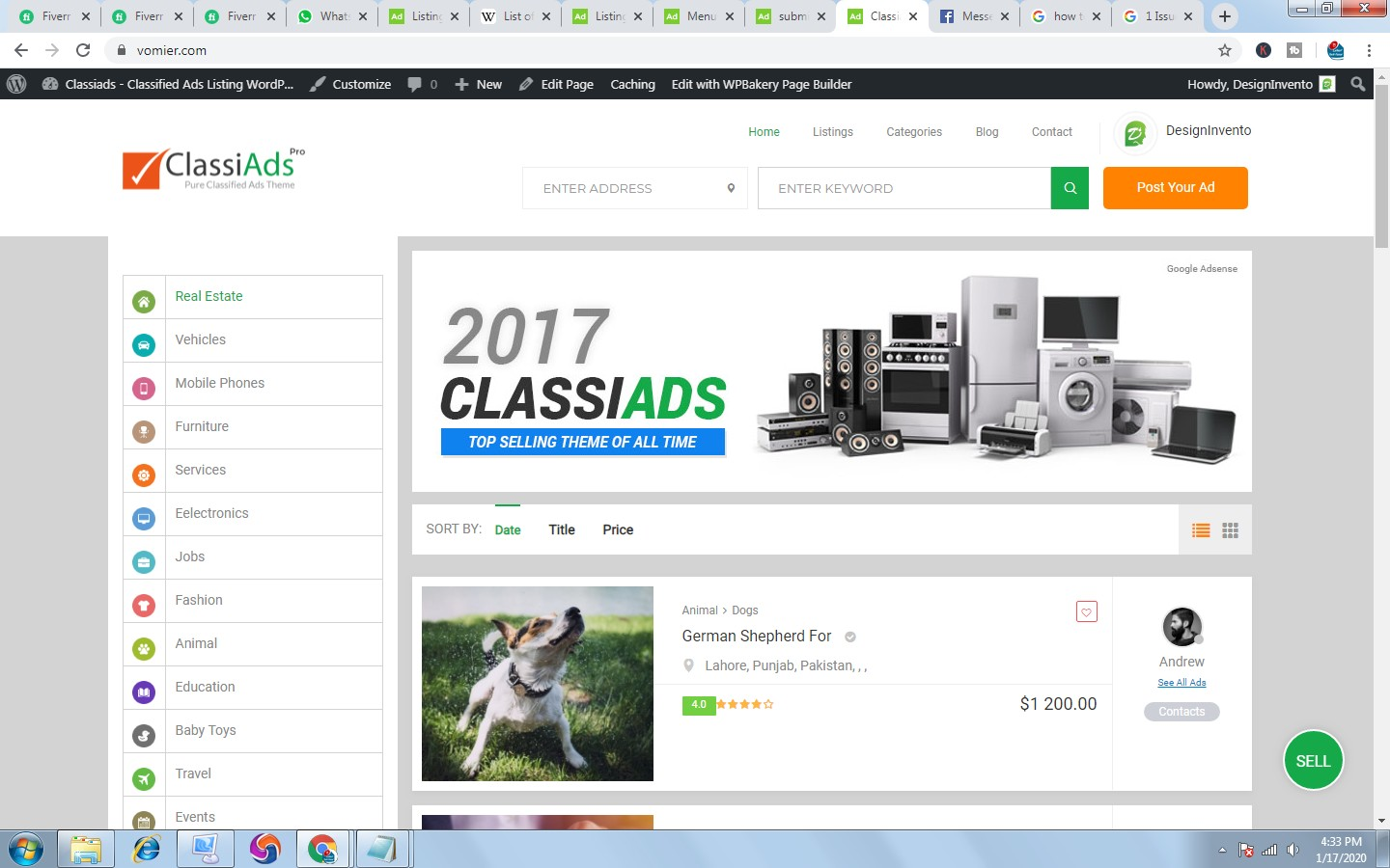 Build Free Classified website with classiads