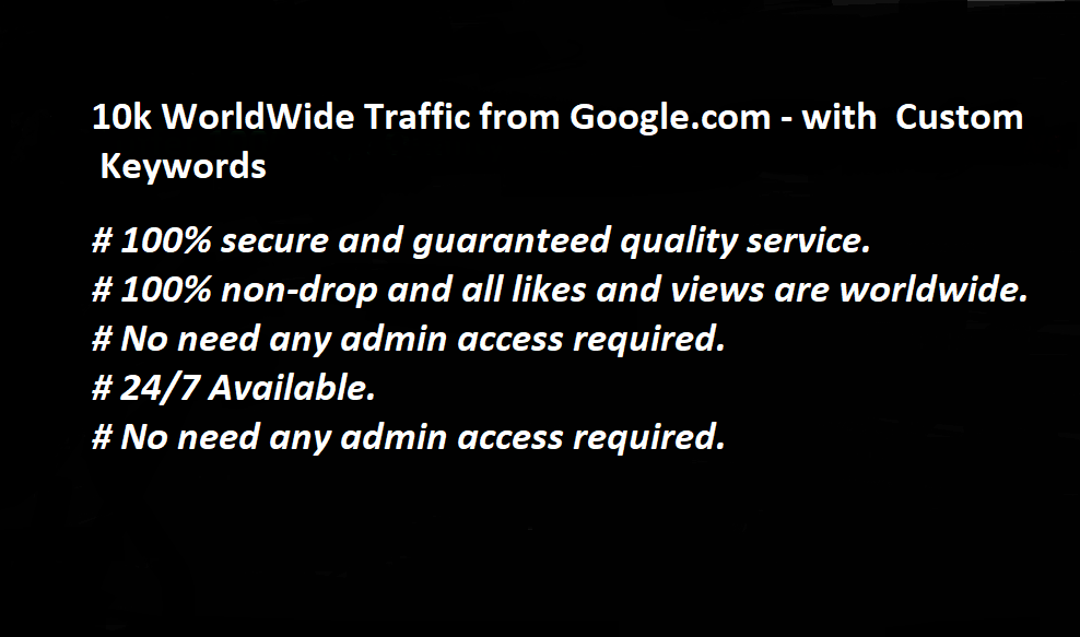 10k WorldWide Organic Traffic from Google