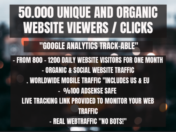 50.000 organic keyword targeted website trackable traffic viewers clicks