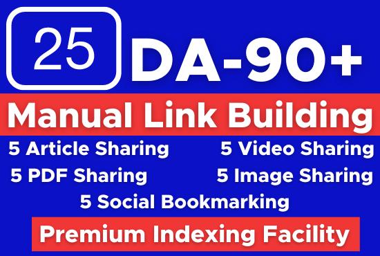 Manually Build 25 white hat SEO backlinks,  manual link building