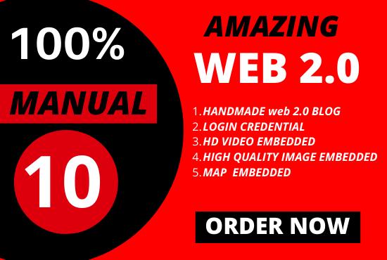 I will Manually Build 10 DA-90 Web 2.0 Blogs for Your Website
