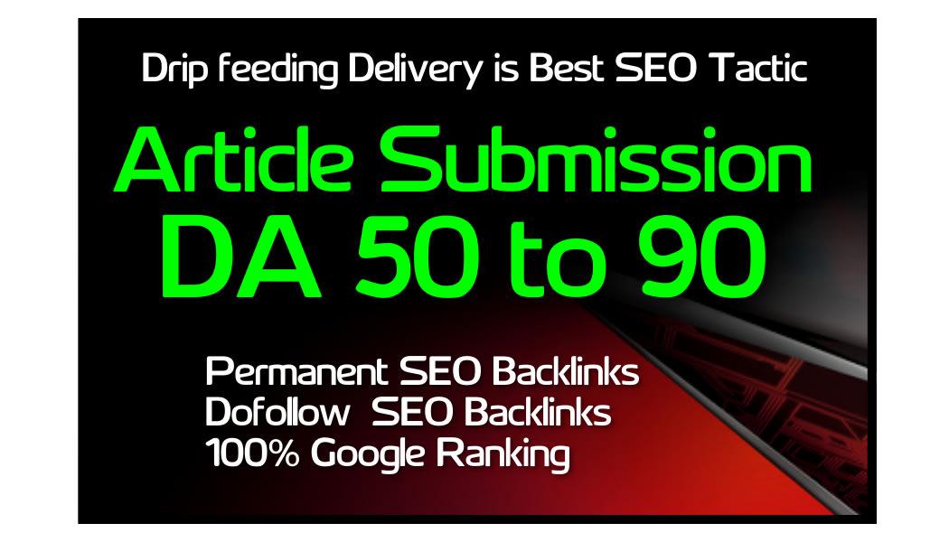 Provide 20 unique article submission with DA-50 plus unique domain backlinks