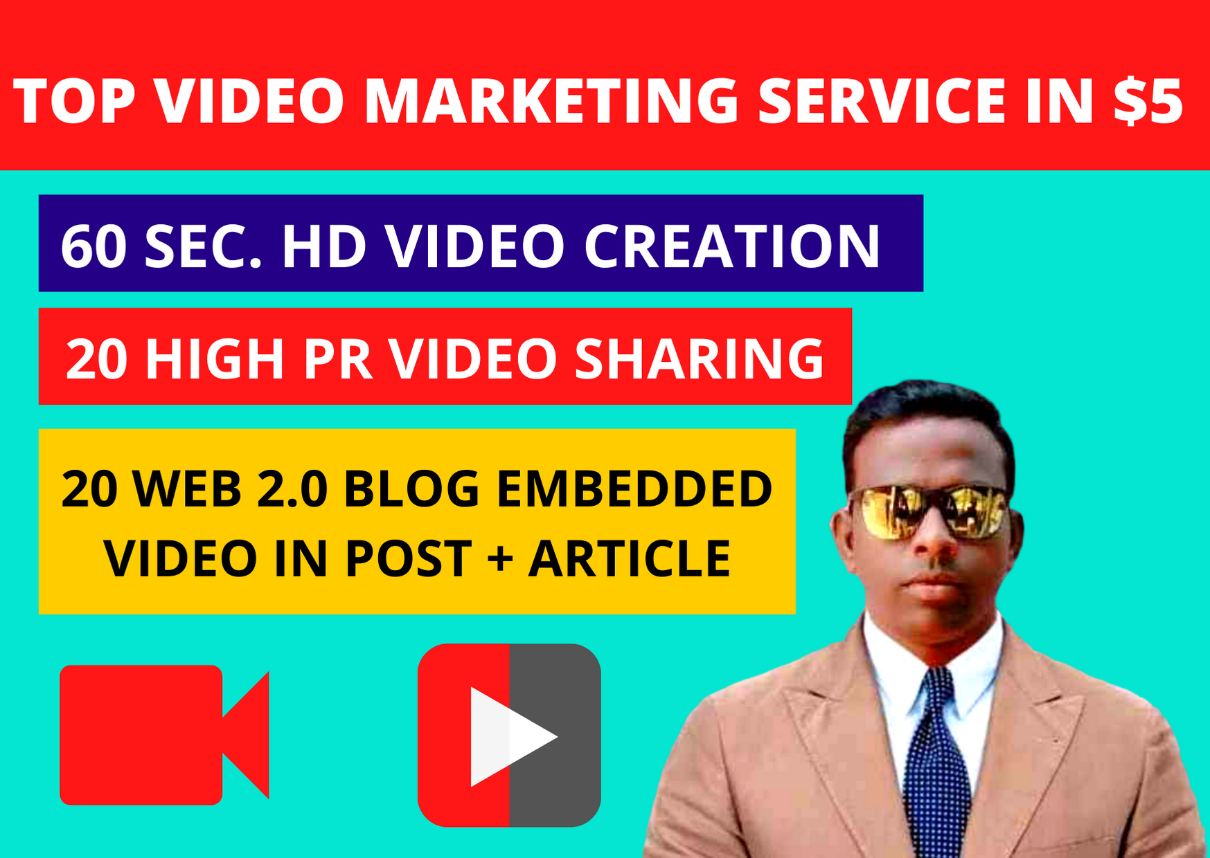 video creation and video submission on 20 high PR sites & 20 Web 2.0 Blogs best for off page SEO