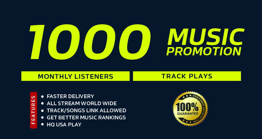 Super Fast 1000 Monthly Listeners or Track Play For Your Music Promotion