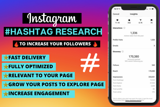 Research the best hashtags for your instagram page